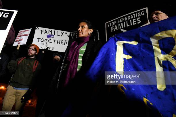 Jeanette Vizguerra middle joins other community membersr for the annual Love Knows No Borders No Walls vigil outside of the GEO Detention facility on...