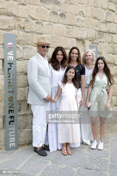 JeanFrancois Aron guests Anne de Carbuccia and Anji Aron attend One Planet One Future Cocktail Party on June 22 2018 in Naples Italy