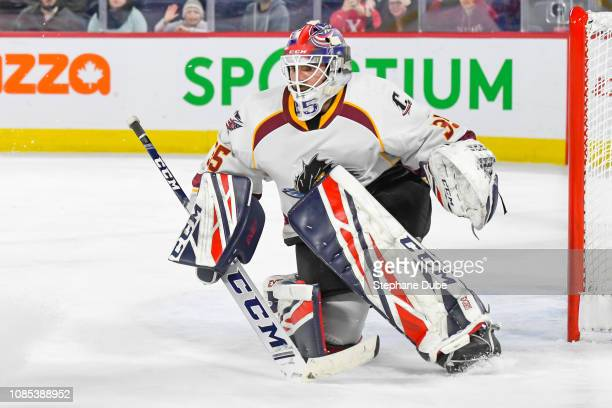 JeanFrancois Berube of the Cleveland Monsters waiting for a shot on net against the Laval Rocket at Place Bell on January 19 2019 in Laval Quebec