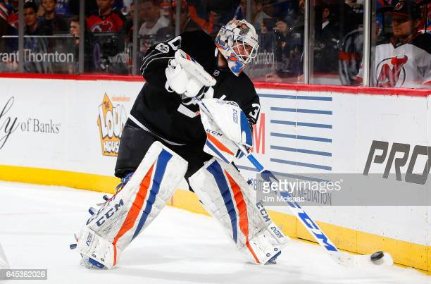 JeanFrancois Berube of the New York Islanders in action against the New Jersey Devils on February 19 2017 at Barclays Center in the Brooklyn borough...