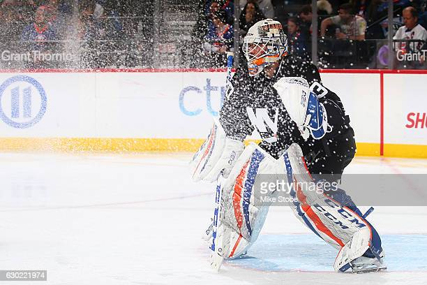 JeanFrancois Berube of the New York Islanders looks on against the Ottawa Senators at the Barclays Center on December 18 2016 in Brooklyn borough of...