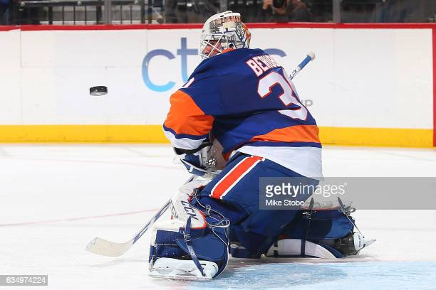 JeanFrancois Berube of the New York Islanders makes a save against the Colorado Avalanche at the Barclays Center on February 12 2017 in Brooklyn...