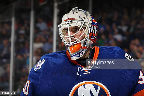 JeanFrancois Berube of the New York Islanders skates against the Ottawa Senators at the Barclays Center on March 23 2016 in Brooklyn borough of New...