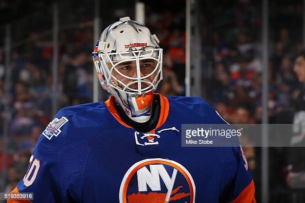 JeanFrancois Berube of the New York Islanders skates against the Pittsburgh Penguins at the Barclays Center on April 2 2016 in Brooklyn borough of...