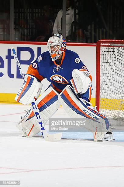 JeanFrancois Berube of the New York Islanders skates during warmups prior to the game against the Columbus Blue Jackets at the Barclays Center on...