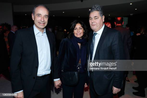 JeanFrancois Cope his wife Nadia and PierreFrancois Veil attend the Ma mere est folle Private Projection at Elysee Biarritz on November 19 2018 in...