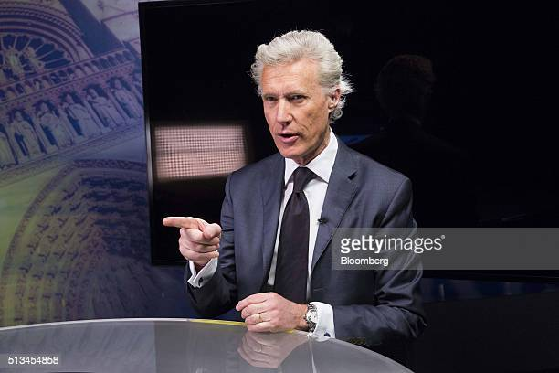 JeanFrancois Decaux cochief executive officer of JCDecaux SA gestures ahead of a Bloomberg Television interview in Paris France on Thursday March 3...
