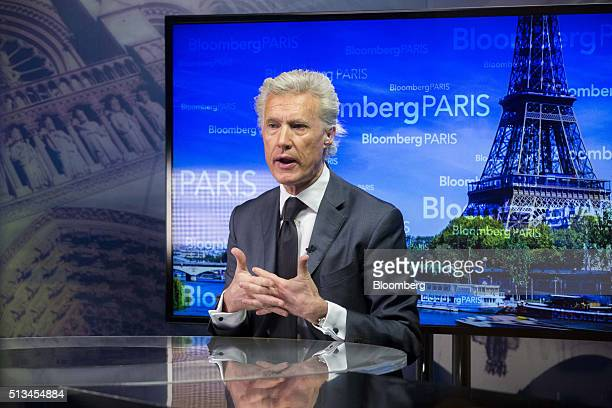 JeanFrancois Decaux cochief executive officer of JCDecaux SA gestures as he speaks during a Bloomberg Television interview in Paris France on...