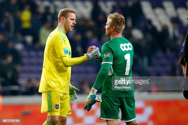 JeanFrancois Gillet goalkeeper of Standard Liege and Matz Sels goalkeeper of RSC Anderlecht pictured during the round of 1/8 Croky Cup between Rsc...