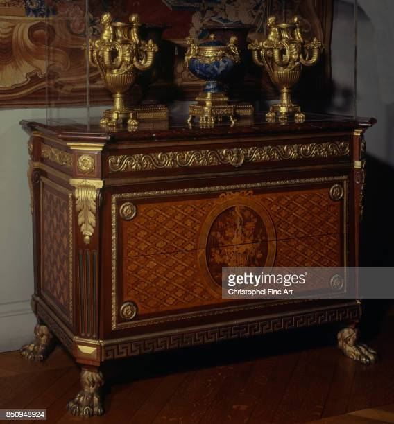 JeanFrancois Leleu Marquetry chest of drawers from Prince de Conde's bedroom at the Palais Bourbon Paris Louvre Museum