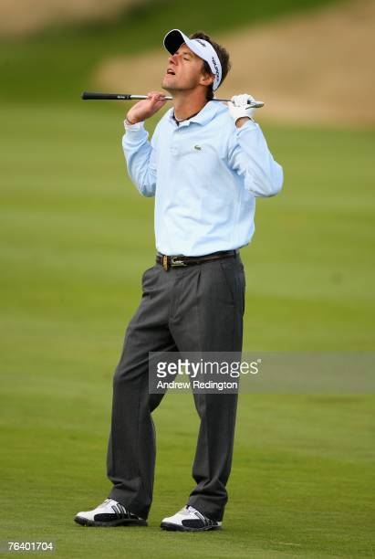 JeanFrancois Lucquin of France shows his frustration on the second hole during the first round of The Johnnie Walker Championship on The PGA...