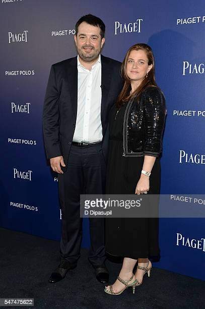 JeanFrancois Piege and wife Elodie Tavares Piege attend the Piaget new timepiece launch at the Duggal Greenhouse on July 14 2016 in New York City