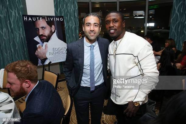 JeanFrancois Sberro and Andre Berto attend the Hublot Private Dinner with Edgar Ramirez at Waldorf Astoria Beverly Hills on March 13 2018 in Beverly...