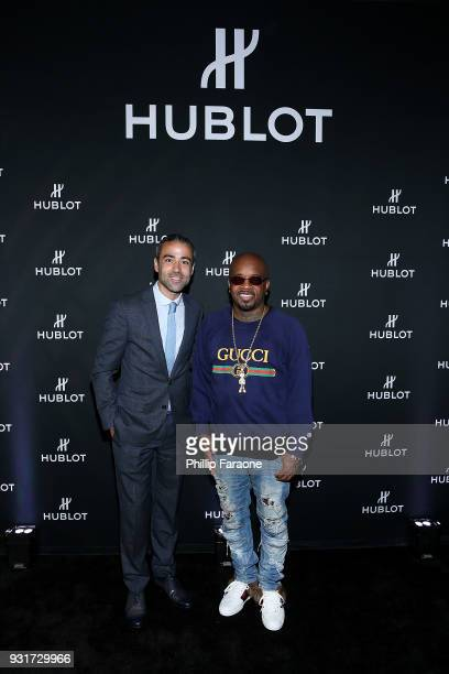 JeanFrancois Sberro and Jermaine Dupri attend the Hublot Private Dinner with Edgar Ramirez at Waldorf Astoria Beverly Hills on March 13 2018 in...