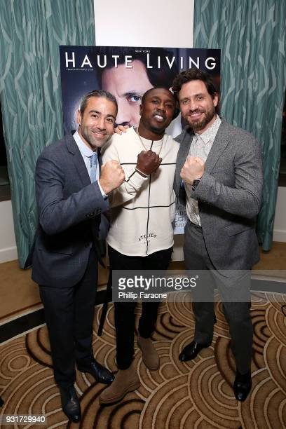 JeanFrancois Sberro Andre Berto and Edgar Ramirez attend the Hublot Private Dinner with Edgar Ramirez at Waldorf Astoria Beverly Hills on March 13...