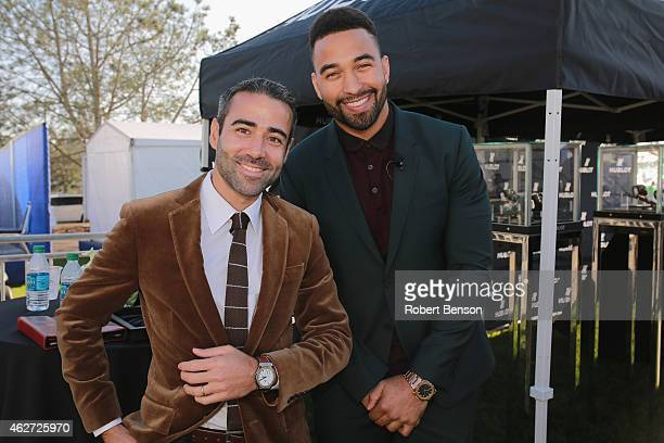 JeanFrancois Sberro Managing Director of Hublot of America and San Diego Padres' Matt Kemp stand at an event where Hublot announced Justin Rose as an...