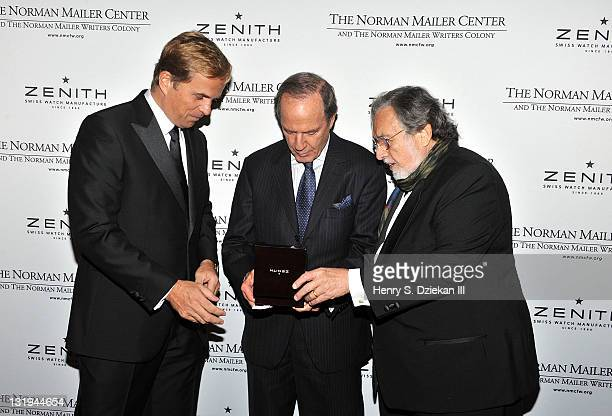 JeanFrederic Dufour Moritmer Zuckerman and Lawrence Schiller attend the 3rd Annual Norman Mailer Center Gala at the Mandarin Oriental Hotel on...