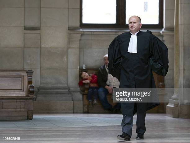JeanFrederic Gaultier lawyer of British tabloid News of the World arrives at the Paris courthouse on September 20 2011 for the libel action of Max...