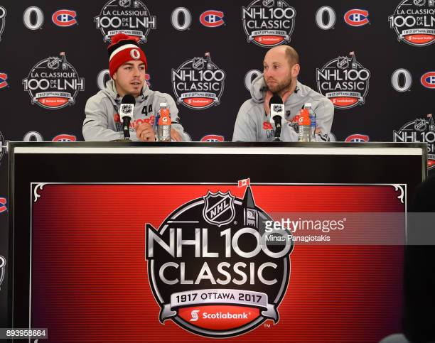 JeanGabriel Pageau and Craig Anderson of the Ottawa Senators talk to the media following a 30 win over the Montreal Canadiens during the 2017...