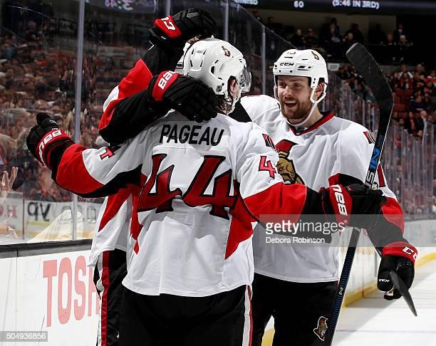 JeanGabriel Pageau Curtis Lazar and Zack Smith of the Ottawa Senators celebrate Lazar's second period goal against the Anaheim Ducks on January 13...
