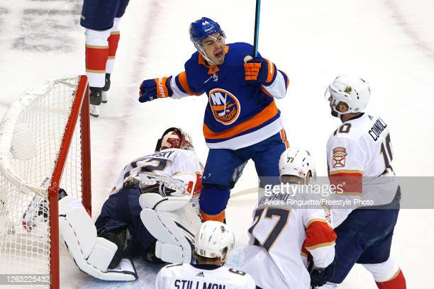 JeanGabriel Pageau of the New York Islanders celebrates after scoring a goal on Sergei Bobrovsky of the Florida Panthers during the first period in...