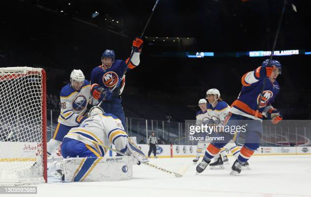 Jean-Gabriel Pageau of the New York Islanders celebrates his game-winning power-play goal at 15:08 of the third period against the Buffalo Sabres as...