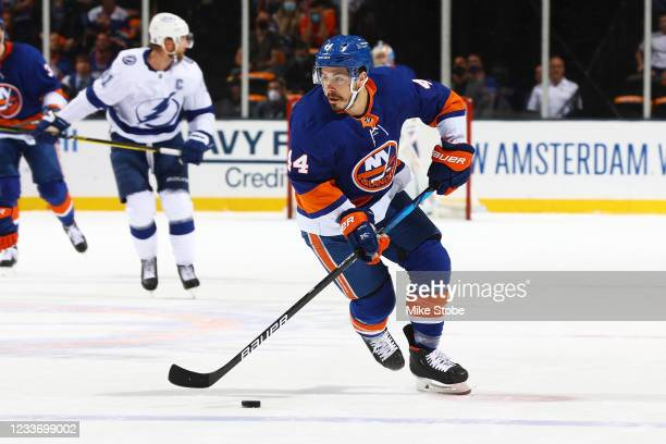 Jean-Gabriel Pageau of the New York Islanders in action against the Tampa Bay Lightning in Game Six of the Stanley Cup Semifinals of the 2021 Stanley...