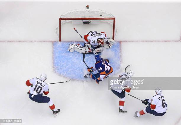 JeanGabriel Pageau of the New York Islanders scores against goaltender Sergei Bobrovsky of the Florida Panthers in the first period of Game One of...