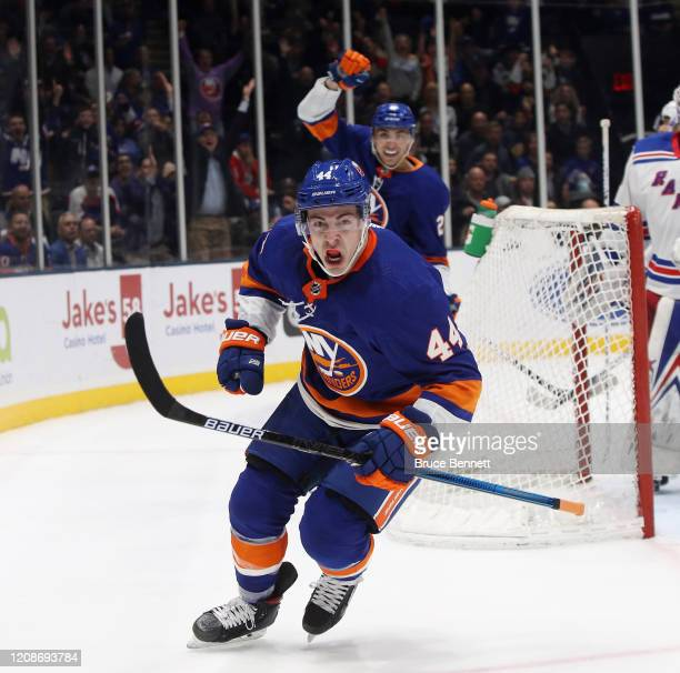 JeanGabriel Pageau of the New York Islanders scores at 1704 of the second period against the New York Rangers at NYCB Live's Nassau Coliseum on...