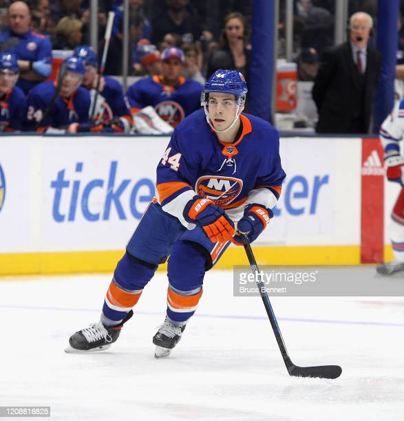 JeanGabriel Pageau of the New York Islanders skates against the New York Rangers during the first period at NYCB Live's Nassau Coliseum on February...