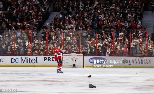 JeanGabriel Pageau of the Ottawa Senators applauds the fans as he is named the first star after an overtime win against the New York Rangers in Game...