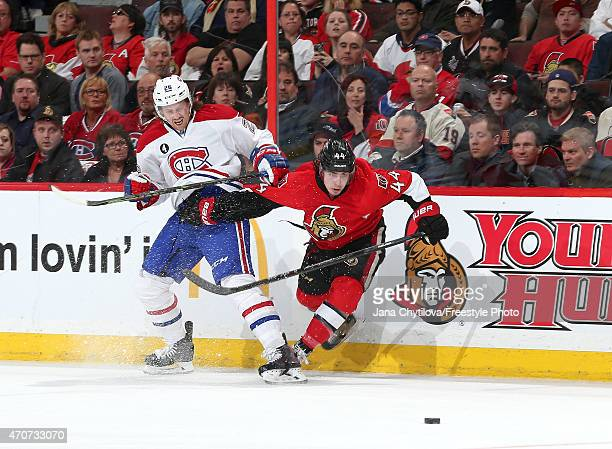 JeanGabriel Pageau of the Ottawa Senators battles for control of the puck against Jeff Petry of the Montreal Canadiens in Game Four of the Eastern...