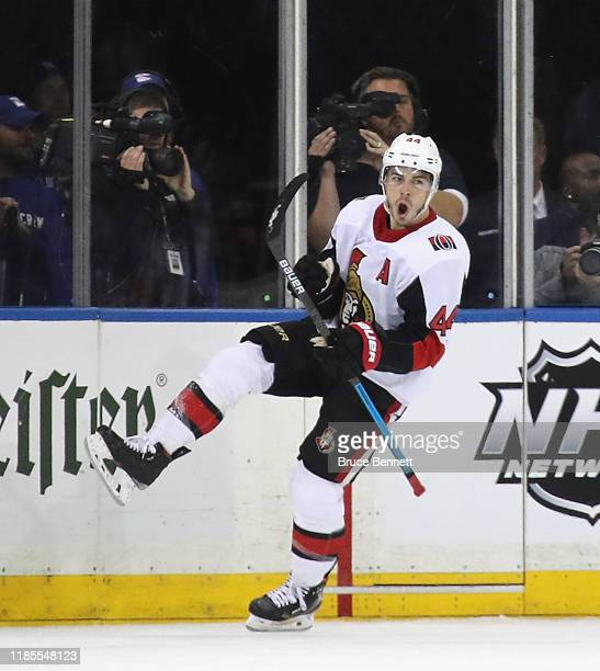 JeanGabriel Pageau of the Ottawa Senators celebrates his second period goal against the New York Rangers at Madison Square Garden on November 04 2019...