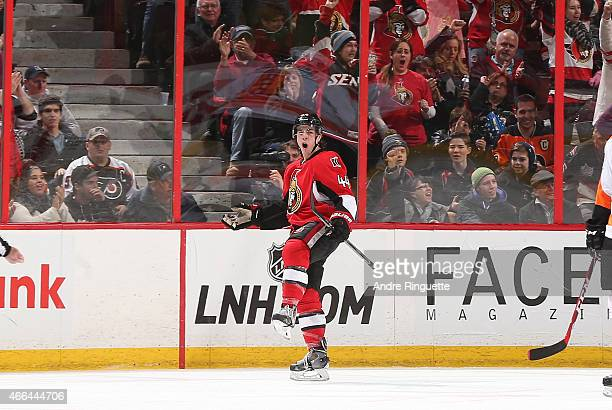JeanGabriel Pageau of the Ottawa Senators celebrates his second period goal against the Philadelphia Flyers at Canadian Tire Centre on March 15 2015...