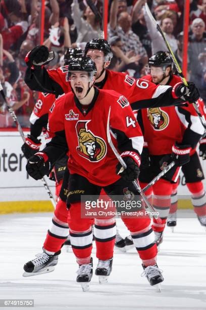 JeanGabriel Pageau of the Ottawa Senators celebrates his third period game tying goal and hattrick against the New York Rangers with teammates Mark...