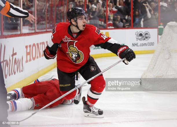JeanGabriel Pageau of the Ottawa Senators celebrates the overtime winning goal and his fourth of the game against the New York Rangers in Game Two of...
