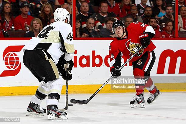 JeanGabriel Pageau of the Ottawa Senators fires a slapshot against Brooks Orpik of the Pittsburgh Penguins in Game Three of the Eastern Conference...