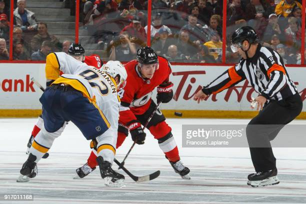 JeanGabriel Pageau of the Ottawa Senators keeps track of the puck during a faceoff against Ryan Johansen of the Nashville Predators at Canadian Tire...