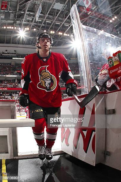 JeanGabriel Pageau of the Ottawa Senators leaves the ice prior to the game against the Pittsburgh Penguins in Game Three of the Eastern Conference...