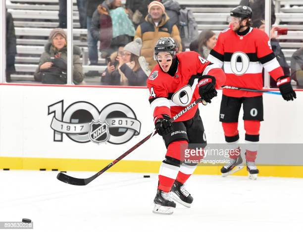 JeanGabriel Pageau of the Ottawa Senators passes the puck during the 2017 Scotiabank NHL100 Classic Ottawa Senators practice on Parliament Hill on...