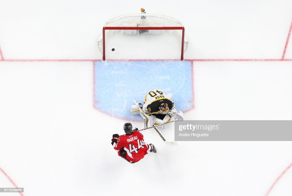 Jean-Gabriel Pageau #44 of the Ottawa Senators scores a second period goal against Tuukka Rask #40 of the Boston Bruins in Game Five of the Eastern Conference First Round during the 2017 NHL Stanley Cup Playoffs at Canadian Tire Centre on April 21, 2017 in Ottawa, Ontario, Canada.