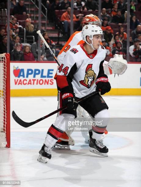 JeanGabriel Pageau of the Ottawa Senators screens goaltender Michael Neuvirth of the Philadelphia Flyers on February 3 2018 at the Wells Fargo Center...