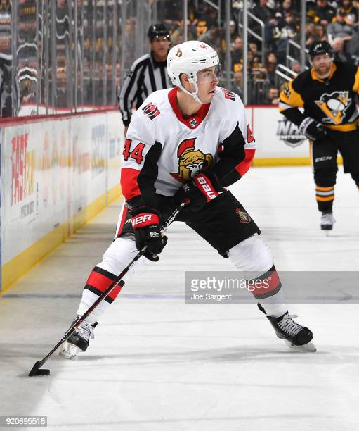 JeanGabriel Pageau of the Ottawa Senators skates against the Pittsburgh Penguins at PPG Paints Arena on February 13 2018 in Pittsburgh Pennsylvania