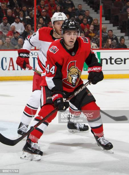 JeanGabriel Pageau of the Ottawa Senators skates against the Carolina Hurricanes at Canadian Tire Centre on March 24 2018 in Ottawa Ontario Canada