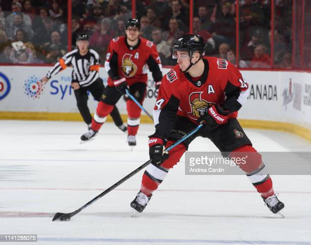JeanGabriel Pageau of the Ottawa Senators skates against the Columbus Blue Jackets at Canadian Tire Centre on April 6 2019 in Ottawa Ontario Canada