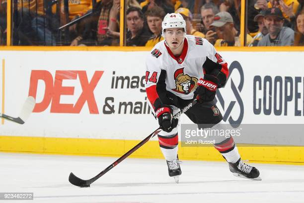 JeanGabriel Pageau of the Ottawa Senators skates against the Nashville Predators during an NHL game at Bridgestone Arena on February 19 2018 in...