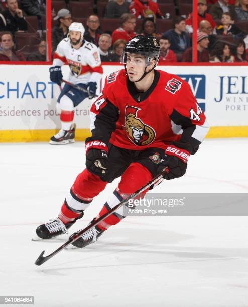 JeanGabriel Pageau of the Ottawa Senators skates against the Florida Panthers at Canadian Tire Centre on March 29 2018 in Ottawa Ontario Canada