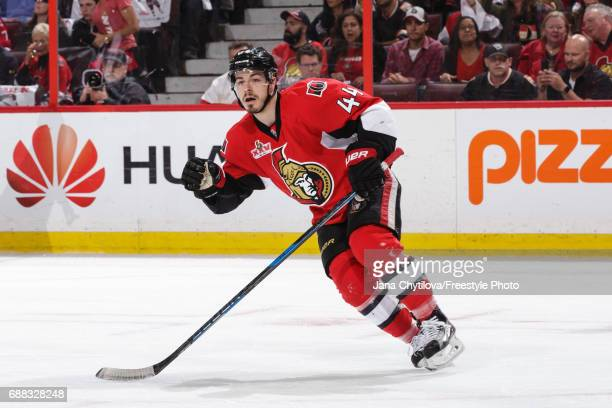 JeanGabriel Pageau of the Ottawa Senators skates against the Pittsburgh Penguins in Game Six of the Eastern Conference Final during the 2017 NHL...
