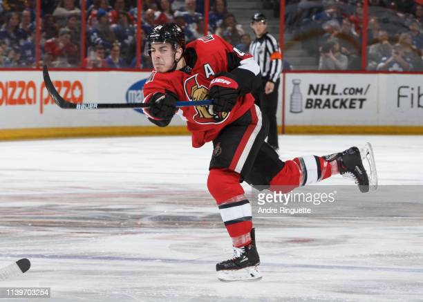 JeanGabriel Pageau of the Ottawa Senators skates against the Toronto Maple Leafs at Canadian Tire Centre on March 30 2019 in Ottawa Ontario Canada