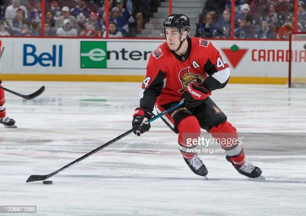 JeanGabriel Pageau of the Ottawa Senators skates against the Toronto Maple Leafs at Canadian Tire Centre on February 15 2020 in Ottawa Ontario Canada